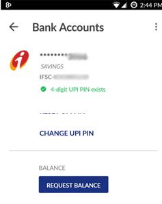 change UPI pin