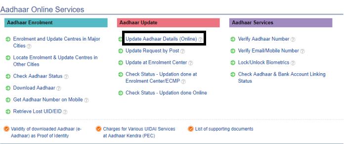 Aadhar online service