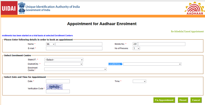 Appointment for Aadhar enrollment