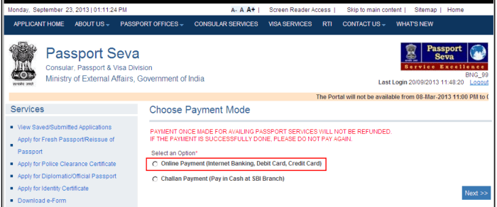 Choose payment mode