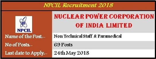 भारत परमाणु ऊर्जा निगम लिमिटेड (NPCIL) भर्ती 2018: 69 पोस्ट / आवेदन करने की अंतिम तिथि 24 मई 2018